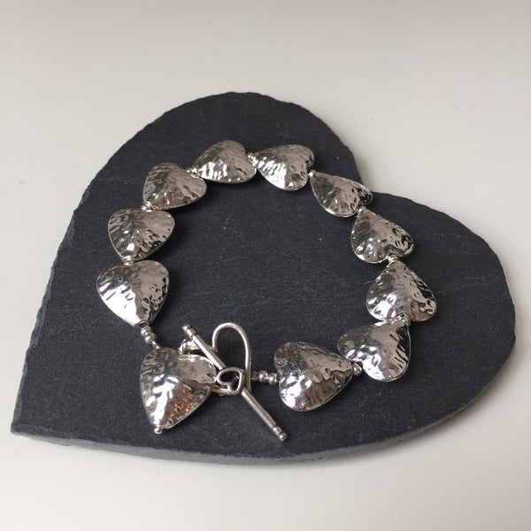 Hammered Heart Bracelet