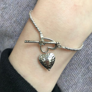 Hammered Heart Charm Bracelet OUT OF STOCK