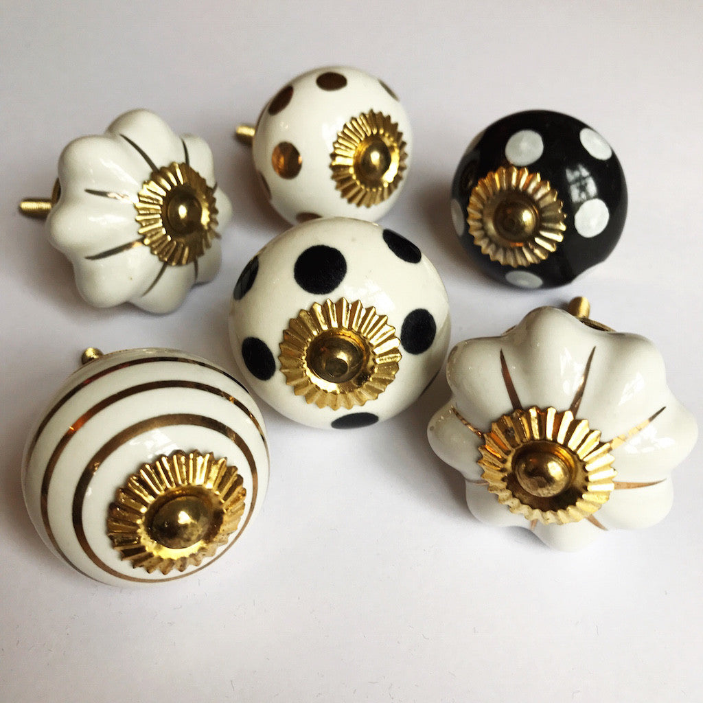 Set of Drawer Knobs in Gold and Monochrome