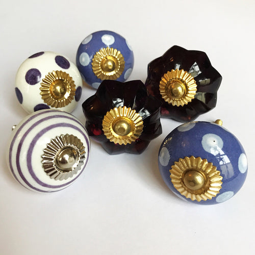 Set of Drawer Knobs in Purples