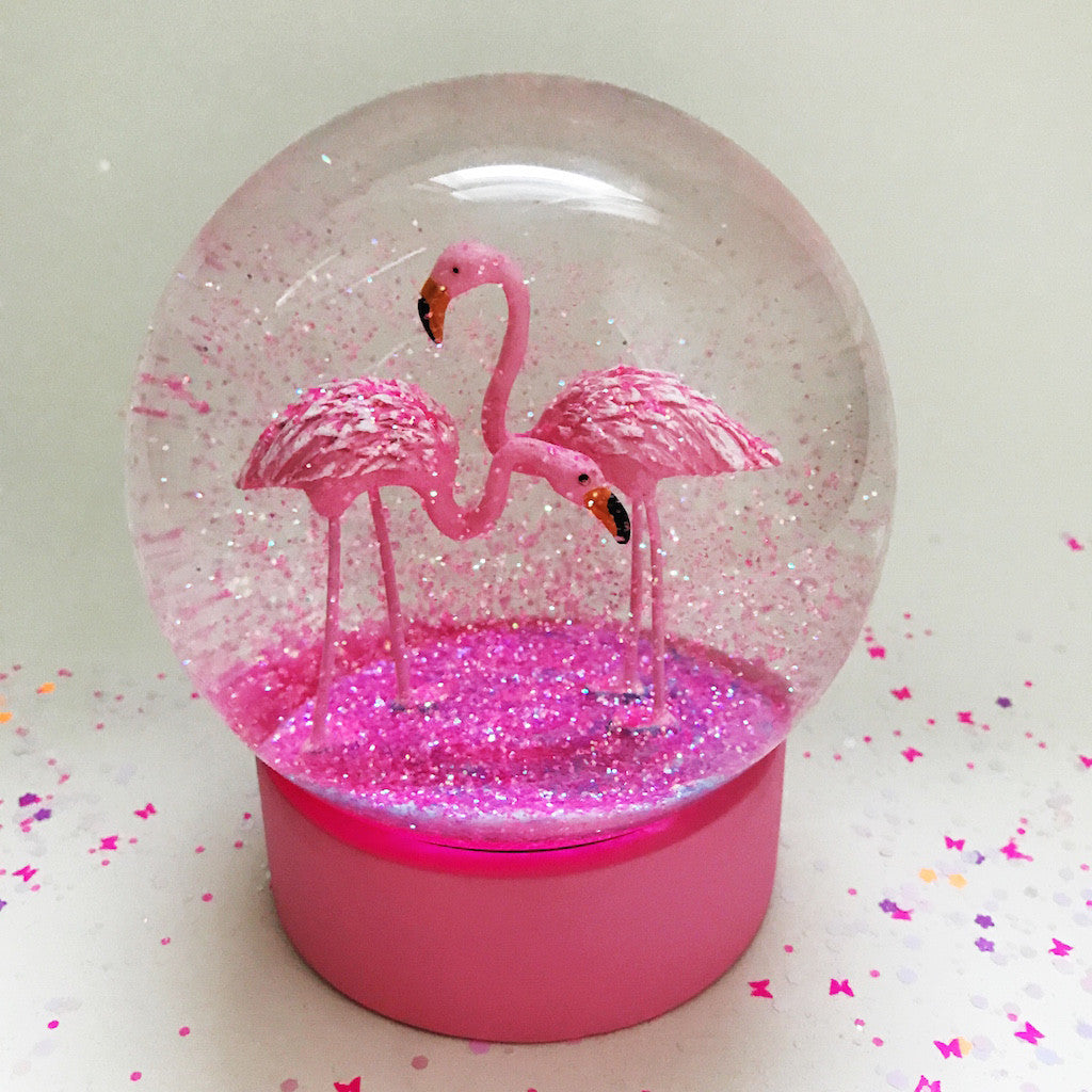 Flamingo Glitter Snow Globe
