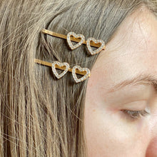 Load image into Gallery viewer, Rose Gold Diamanté Heart Hair Clips