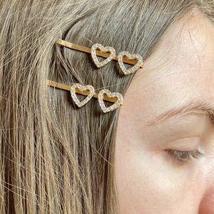 Rose Gold Diamanté Heart Hair Clips