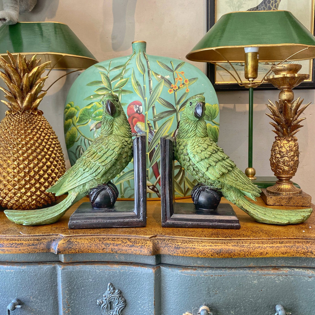 Green Parrot Bookends