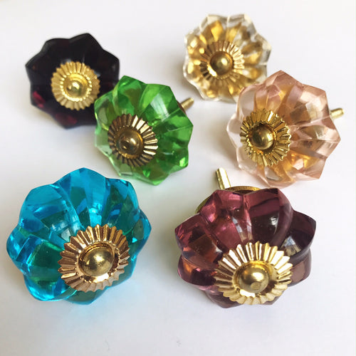Set of Assorted Glass Drawer Knobs- NO PALE PINK LEFT.
