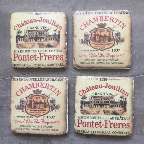 Wine Label Set of Four Coasters