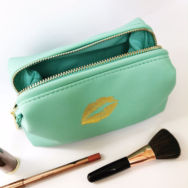 Gold Lips Cosmetic Bag