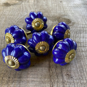 Royal Blue Flower Drawer Knob
