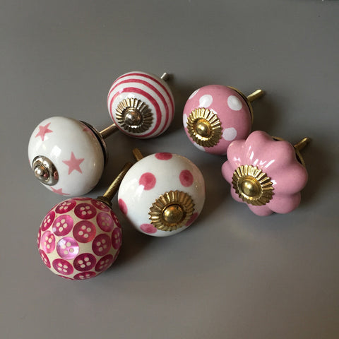 Set of Drawer Knobs in Pinks