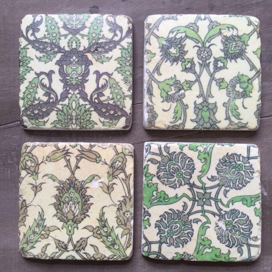 Green Floral Coasters Set of Four