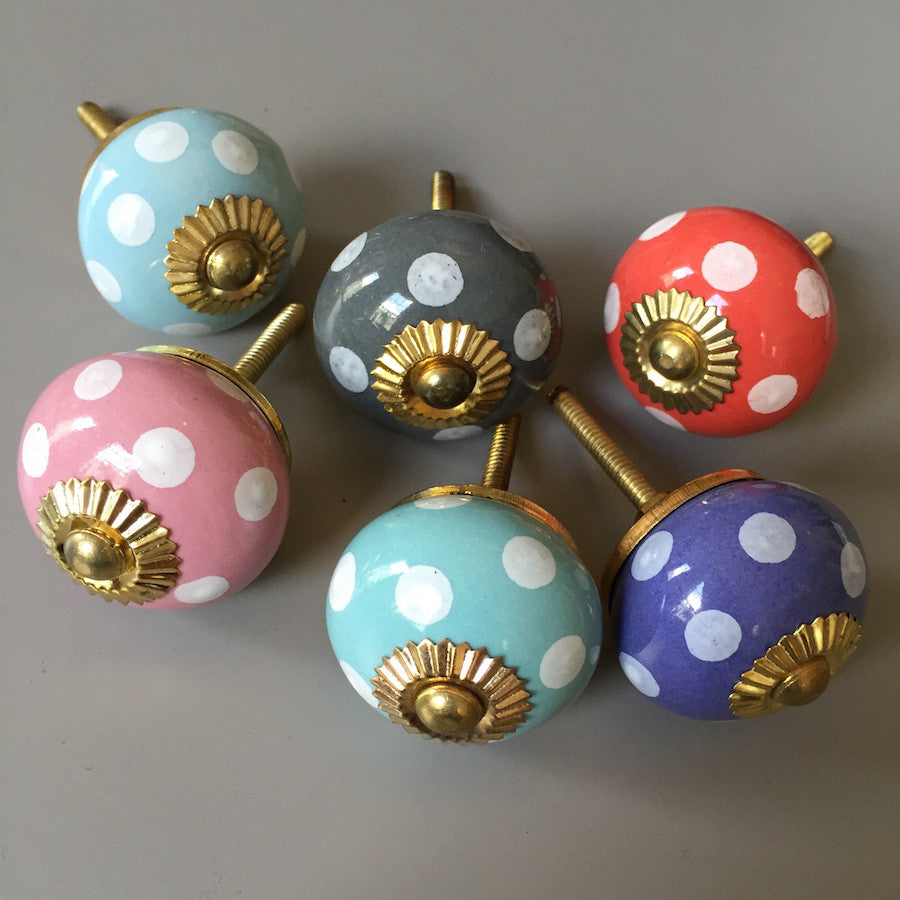 Set of Colourful Spotty Drawer Knobs