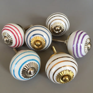 Set of Assorted Stripey Drawer Knobs