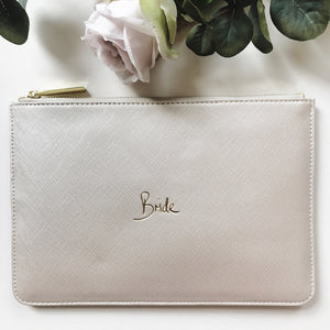 Bride Slogan Clutch Bag Metallic White