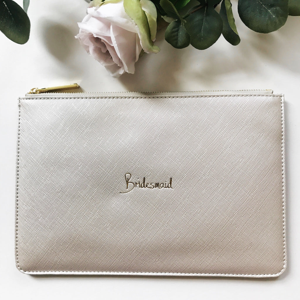 Bridesmaid Slogan Clutch Bag Metallic White