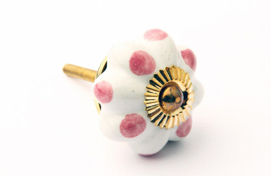 Flower Drawer Knob with Pink Dots