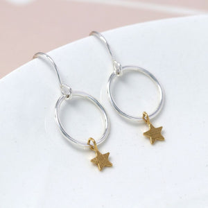 Sterling Silver Hoop And Gold Star Earrings