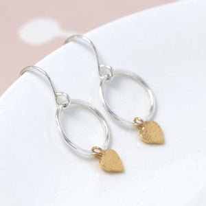 Sterling Silver Hoop And Gold Heart Earrings