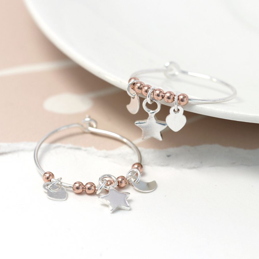 Sterling Silver Triple Charm Hoop Earrings