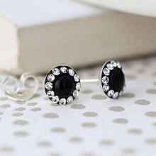 Load image into Gallery viewer, Sterling Black and Crystal Circle Earrings