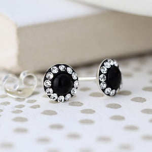 Sterling Black and Crystal Circle Earrings