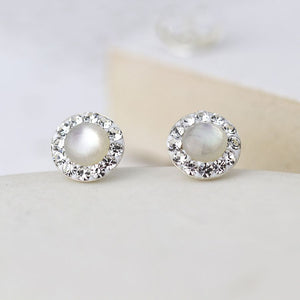 Sterling Silver Pearl and crystal Circle Earrings