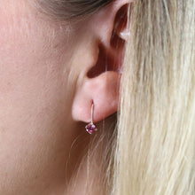Load image into Gallery viewer, Sterling Silver Pink Crystal Drop Earrings