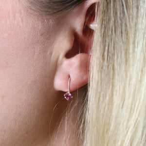 Sterling Silver Pink Crystal Drop Earrings