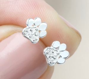 Sterling Silver CZ Paw Stud Earrings