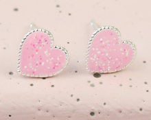 Load image into Gallery viewer, Glittery Pink Heart Earrings