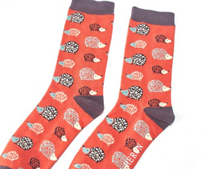 Mens Bamboo Socks With Hedgehogs Orange