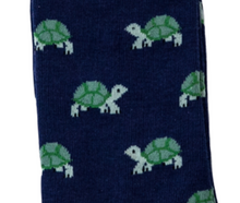 Load image into Gallery viewer, Mens Turtle Bamboo Socks Dark Blue