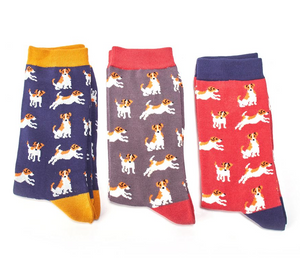 Men's Bamboo Socks with Jack Russels in Red