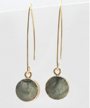 Load image into Gallery viewer, Semi Precious Circle Stone Drop Earrings