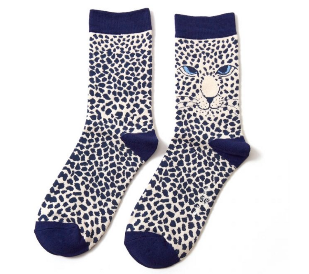 Ladies Bamboo Leopard Face Socks