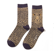 Load image into Gallery viewer, Ladies Bamboo Leopard Face Socks