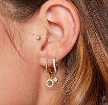 Load image into Gallery viewer, Gold Crystal Circle Huggie Earrings