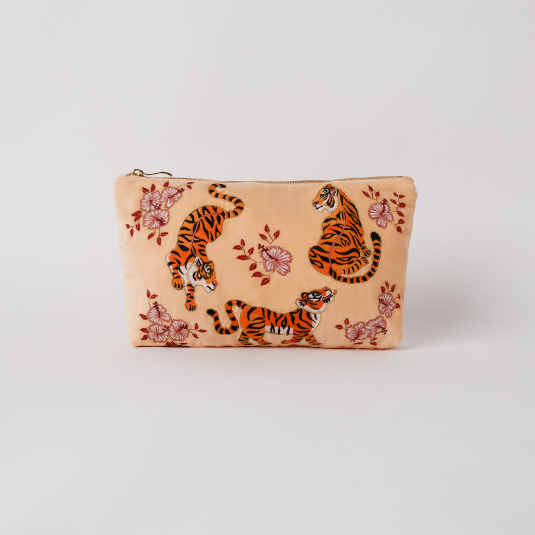 Tiger Apricot Velvet Everyday Pouch