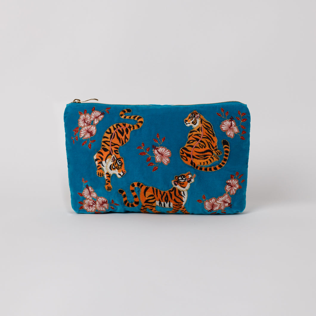 Tiger Azure Velvet Everyday Pouch
