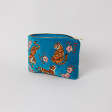 Load image into Gallery viewer, Tiger Azure Velvet Everyday Pouch