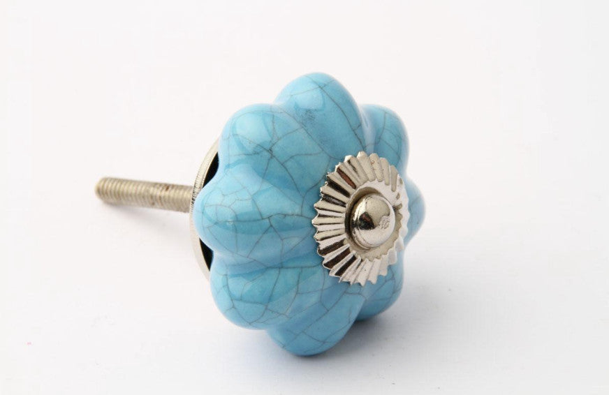Vintage Crackle Glaze Drawer Knob Blue