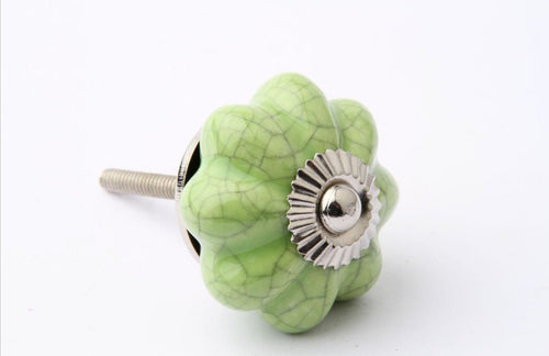 Vintage Crackle Glaze Drawer Knob Green