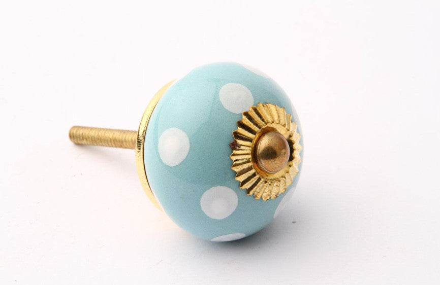 Polka Dot Drawer Knob Turquoise with White