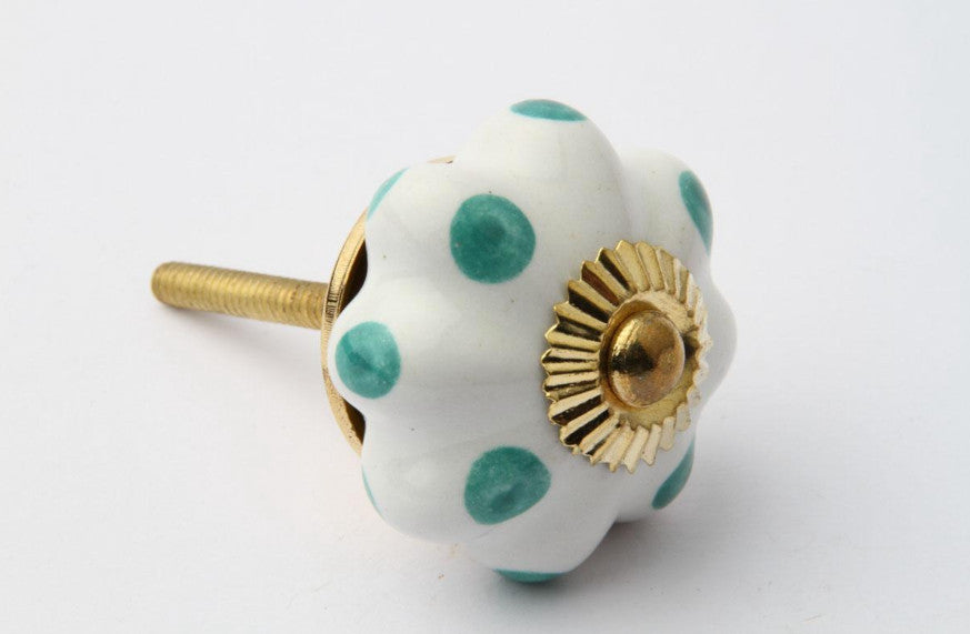 Flower Drawer Knob with Turquoise Dots