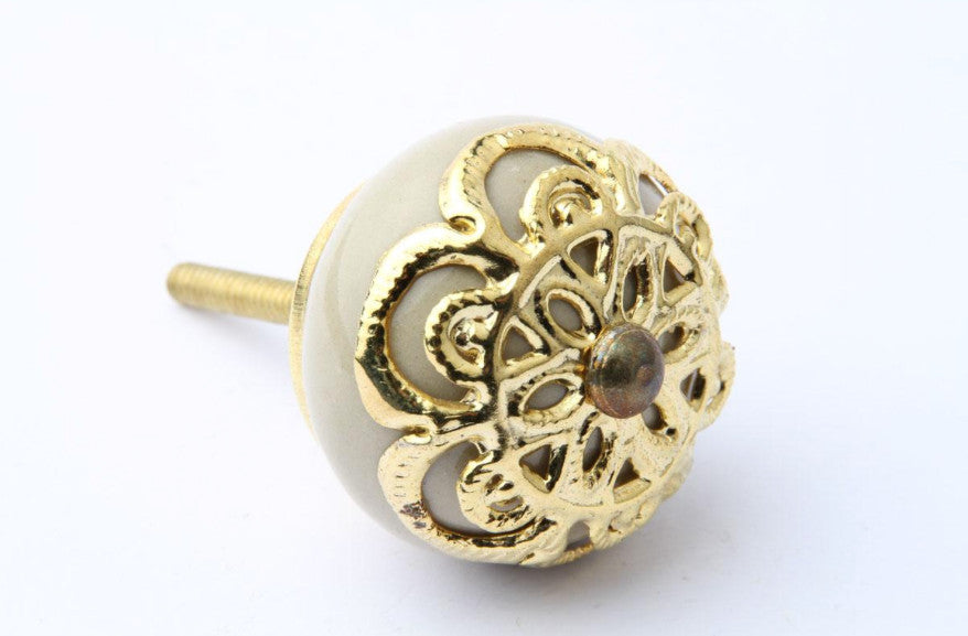 Gold Design Ivory Drawer Knob
