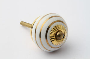Striped Drawer Knob Gold