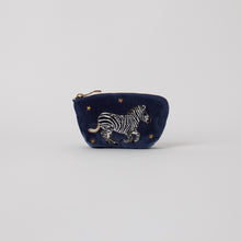 Load image into Gallery viewer, Zebra Indigo Velvet Coin Purse
