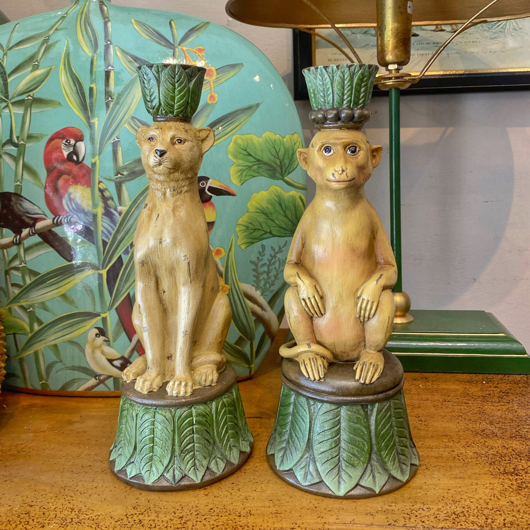 Monkey / Leopard Candle Stick Holder