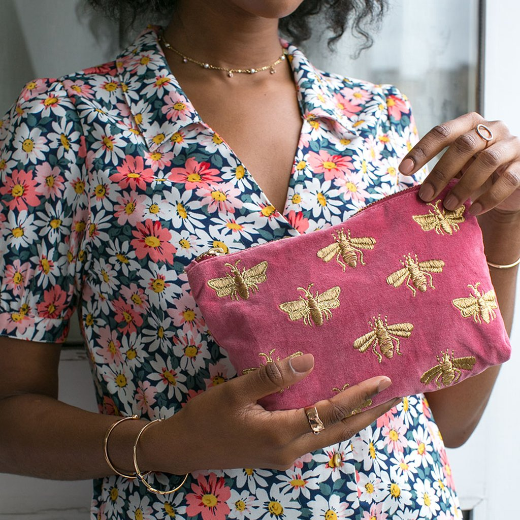 Bee Dusky Pink Velvet Makeup Bag
