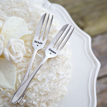 Cake Fork Set – 'Groom/Bride'