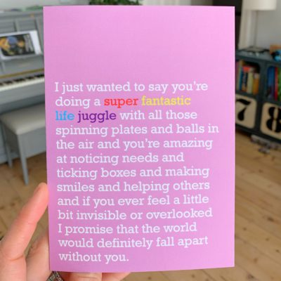 'Super Fantastic Life Juggle' Card